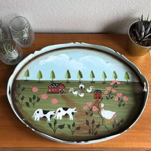 Hand painted Farm Scene Wooden Table Tray